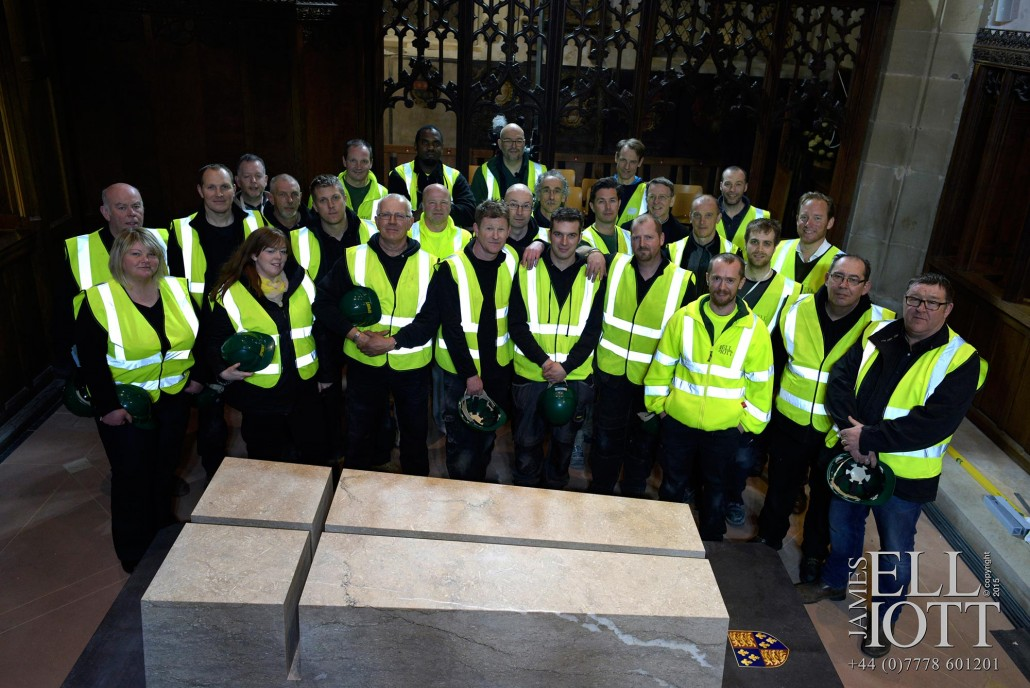The installing of Richard III's Tomb. 26th March 2015.